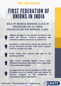 Madras Workers role in formation of India's First Federation or Trade Unions - AITUC - 27/08/2020