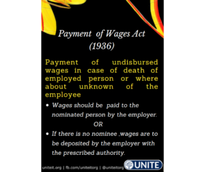 Payment of Wage Act 1936, incase of death of an employee - 19/09/2020