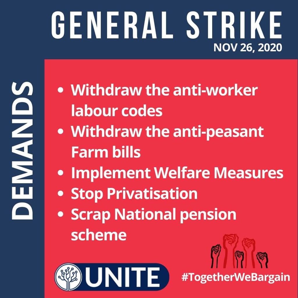 General Strike demands of IT and ITES employees